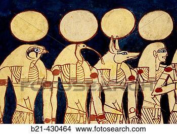 dipinti murali, in, il, tomba, di, seti, i., valle re, lussare, ovest ...