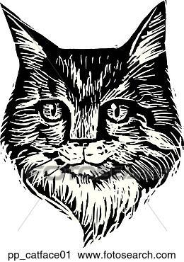 剪贴画 - 猫, 脸, 1