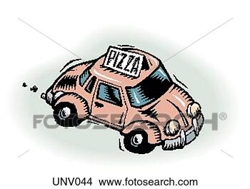 Stock Illustration - pizza delivery 