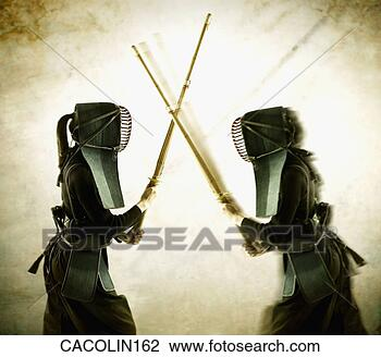 Stock Photo - two young women  in protective  fencing wear fighting.  fotosearch - search  stock photos,  pictures, images,  and photo clipart