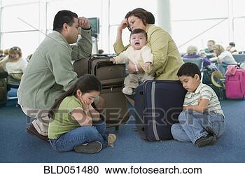 多少数民族成员, 家庭, 等待, 机场 bld051480 搜索照片 壁纸 图象