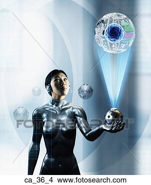 Stock Photo - woman looking  at a futuristic  hi-tech device.  fotosearch - search  stock photos,  pictures, images,  and photo clipart