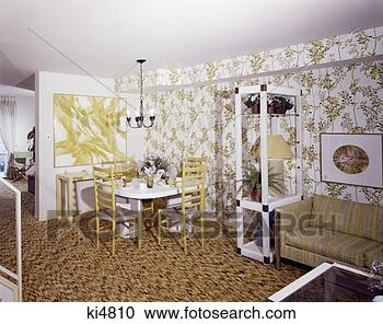 Stock Photography Of 1970 1970s Living Dining Room Dinette Table Yellow Chairs Print Wallpaper