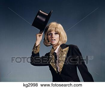 1960S Blonde Woman Tipping Black Top Hat Costume Sequined Lapels Cuffs
