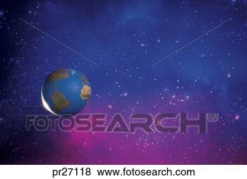 Banco de Imagem - terra,  exterior,   espaço. fotosearch  - busca de fotos,  imagens e clipart