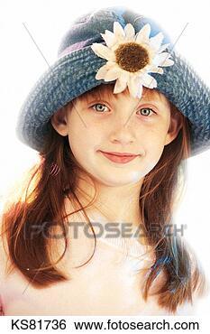 脸, 孩子, 女孩, 帽子, 肖像. 搜索创意英文字母绘图,图像绘图