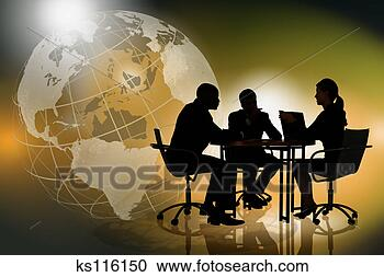 Stock Photography - silhouette of businesspeople, globe in background. fotosearch - search stock photos, pictures, wall murals, images, and photo clipart