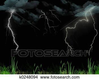 手绘图 - 有暴风雨