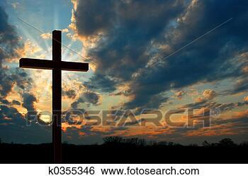 Banco de Imagem - crucifixos, pôr  do sol. fotosearch  - busca de fotos,  imagens e clipart