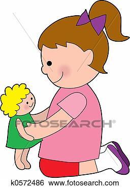 Banque d'Illustrations - peu, fille. fotosearch  - recherchez des  cliparts, des  illustrations,  des dessins et  des images vectorisées  au format eps