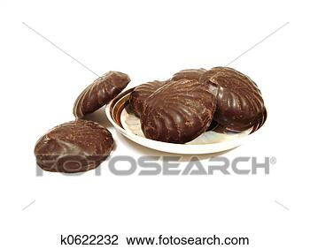 Stock photo six chocolate brownies on a plate over white background