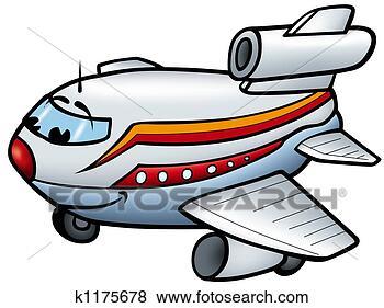 飞机, b, -, 微笑, 卡通漫画