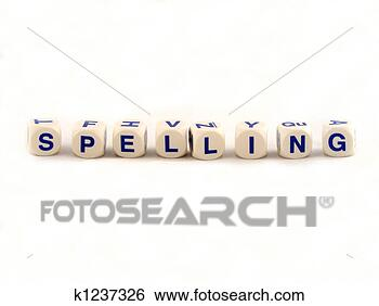 Stock Photo - spelling blocks. 
