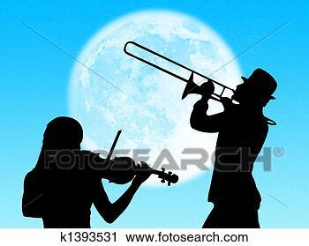 剪贴画 - 小提琴, 同时