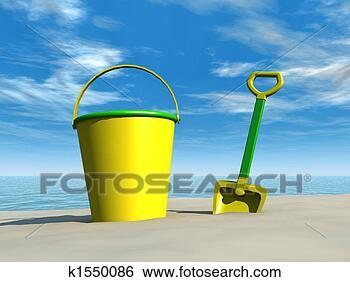 Archivio illustrazioni secchio vanga spiaggia k1550086 - Soleggiato in inglese ...