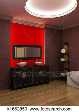 Stock illustration asiatische stil badezimmer innere fotosearch