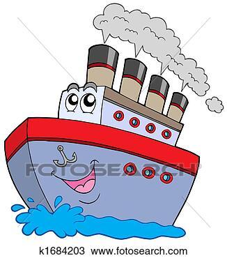 手绘图 - 卡通漫画, 船