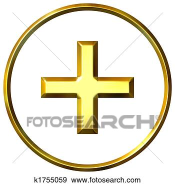 Stock Photograph - 3d golden positive  energy symbol.  fotosearch - search  stock photos,  pictures, images,  and photo clipart