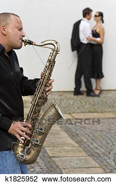 Banco de Imagem - romanticos, jazz.  fotosearch - busca  de fotos, imagens  e clipart