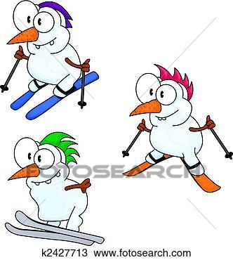 绘图- 滑雪, 雪人