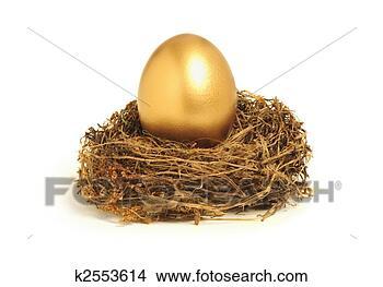 Banco de Imagem - dourado, ninho,  ovo, representando,  aposentadoria,  poupança. fotosearch  - busca de fotos,  imagens e clipart