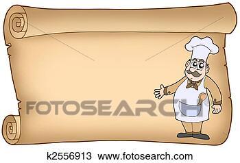 Dessin vieux parchemin chef cuistot k2556913 for Papier parchemin cuisine