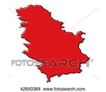 塞尔维亚, 3d, 地图