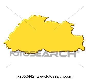 不丹, 3d, 地图