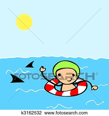 Clip art cartoon kid swimming fotosearch search clipart
