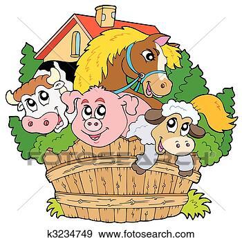 Clip art gruppo di animali fattoria k3234749 cerca for Stampe di fattoria gratis