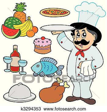Drawing cartoon chef with various meals fotosearch search clipart
