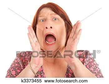Banco de Imagem - mulher, shouting,  ajuda. fotosearch  - busca de fotos,  imagens e clipart