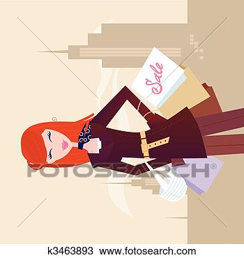 Stock Photo - fashion woman with shopping bags in town. fotosearch - search stock photos, pictures, images, and photo clipart