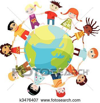 Foto - crianças, mundo.  fotosearch - busca  de fotos, imagens  e clipart