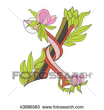 手绘图 - 植物群, 字体