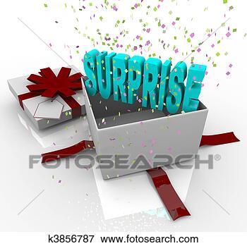 Foto - surpresa, presente,  feliz, aniversário,  presente. fotosearch  - busca de fotos,  imagens e clipart