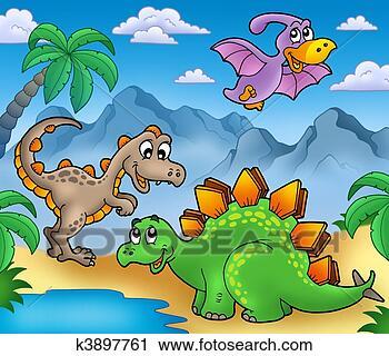 剪贴画 - 风景, 带, 恐龙