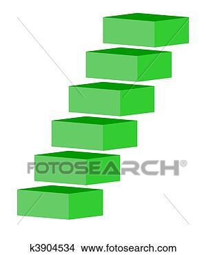 手绘图 - 绿色, 楼梯