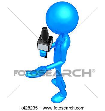 Clipart - giornalista notizie, con, microfono. fotosearch - cerca