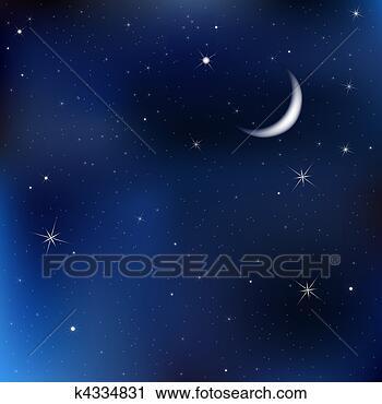 剪贴画 - 夜晚天空, 带