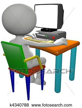 Cartoon 3D PC user works on a computer desk, useful background copy ...