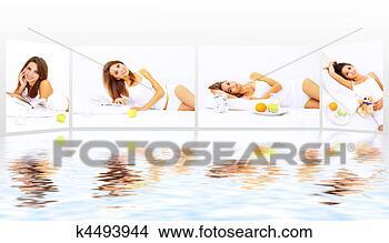 Banco de Imagem - colagem, tema,  manhã. fotosearch  - busca de fotos,  imagens e clipart