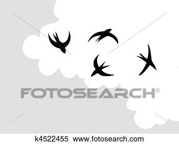 Clipart vettore disegno rondine volare a cielo for Rondine in inglese