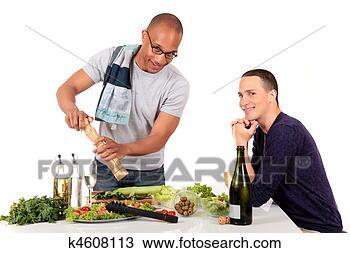 混合, 少数民族, 夫妇, 厨房 k4608113 搜索图象 海报 照片 图片及