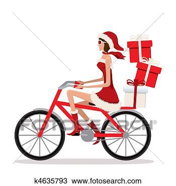 手绘图 - 自行车, santa