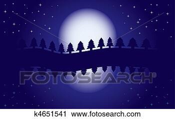 Clipart romantische nacht landscape reflectie van maan in water starry nacht blauwe - Ongewoon behang ...