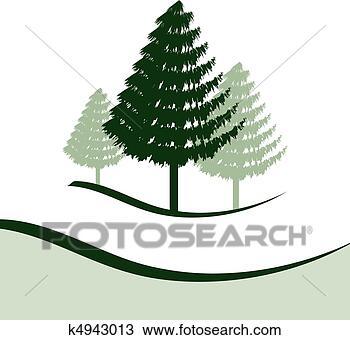 手绘图 - 三, 松树, 树