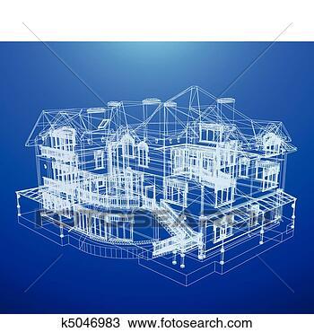 手绘图 - 建筑学, 蓝图, 在中, a, 房子
