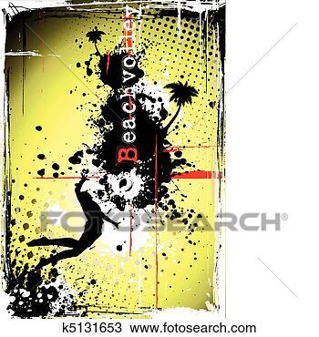 手绘图 海滩, 排球, 海报 -手绘图 海滩, 排球, k5131653 抽象图像