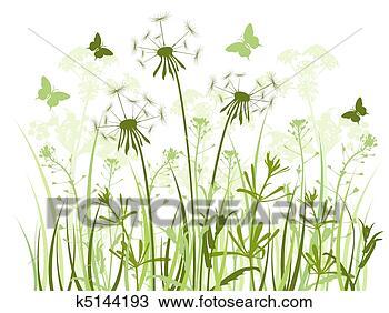 手绘图 - 植物群, 背景;